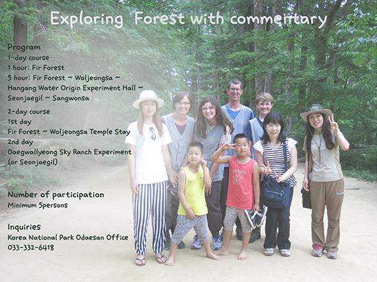 오대산 전나무숲 외국인 해설 프로그램 안내