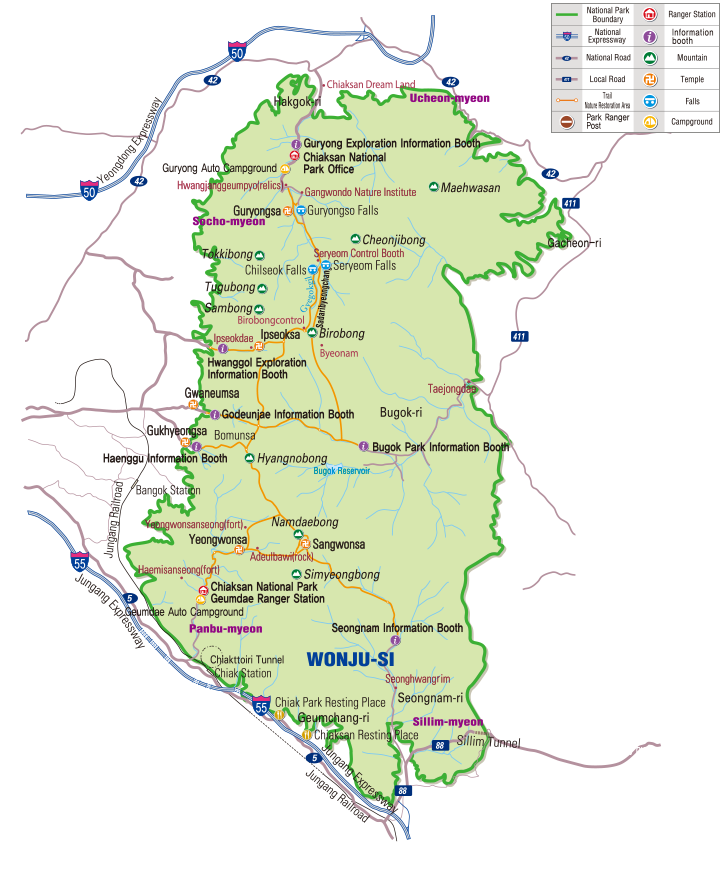 Chiaksan National Park map