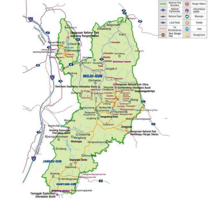 Deogyusan National Park map