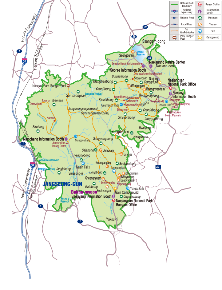 Naejangsan National Park map