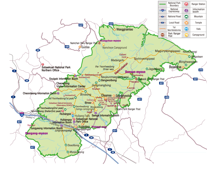 Sobaeksan National Park map
