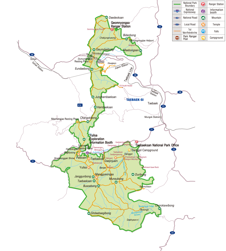 Taebaeksan National Park map