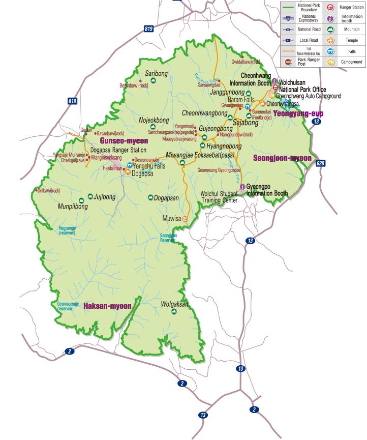 Wolchulsan National Park map